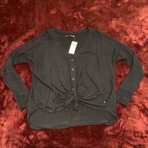 A&F button-down tie-front sweater NWT